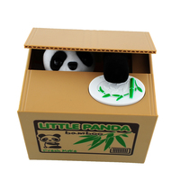 2015 Cute Itazura Automatic Stealing Coin Panda Penny Cents Piggy Bank Saving Box Kids Present Gift