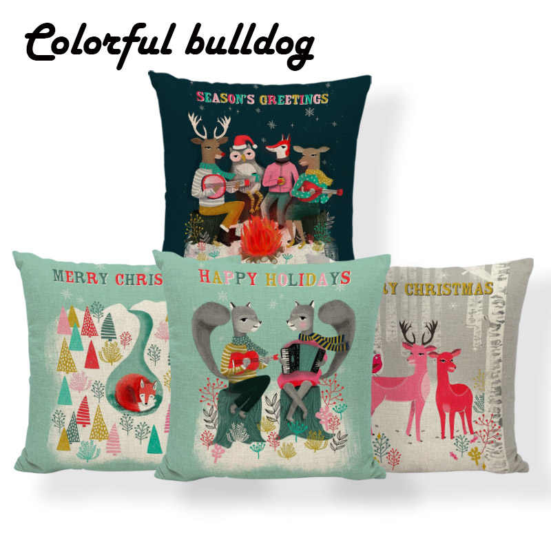 Magnificent Snowflake Love Bear Fox Cushions Merry Christmas Deer Pillow Cover Pink Kilim Sofa Lumbar Support Throw Pillow Cases 45Cm Linen Ibusinesslaw Wood Chair Design Ideas Ibusinesslaworg