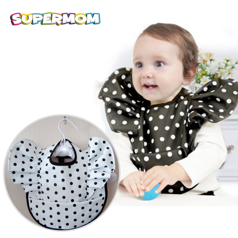 Newborn Dot Bib Feedkid Waterproof Burp Clothes Baby Long Sleeve Apron Smock Angle Girl Boy Apron Baby Feeding Princess Style