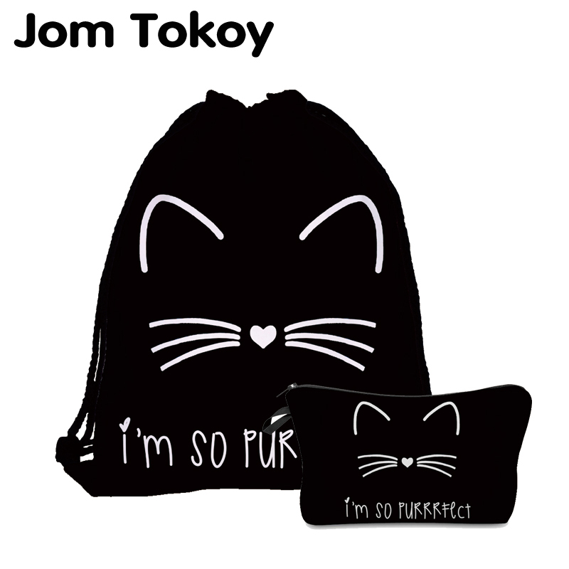 Jom Tokoy 2020 New Fashion 2 PCS 3D Printing Women Backpack Cute Cat Drawstring Bag Set Combination