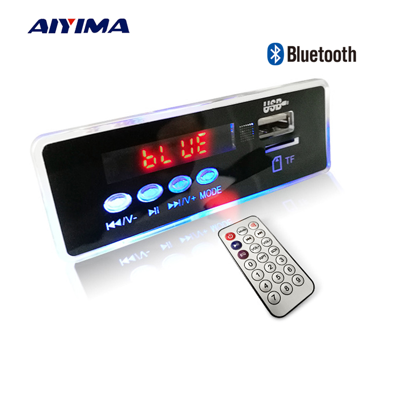Aiyima 12V Blue LED MP3 Audio Decoder Board Lossless FLAC APE 4.2 Bluetooth Decoder With Remote Control TF Card FM Radio aiyima lcd lossless bluetooth decoder dts flac ape ac3 wav mp3 decoder board decode