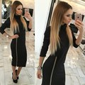 Women autumn Europe and the US new section high-collar self-cultivation dress long dress female zipper slim dress S2841