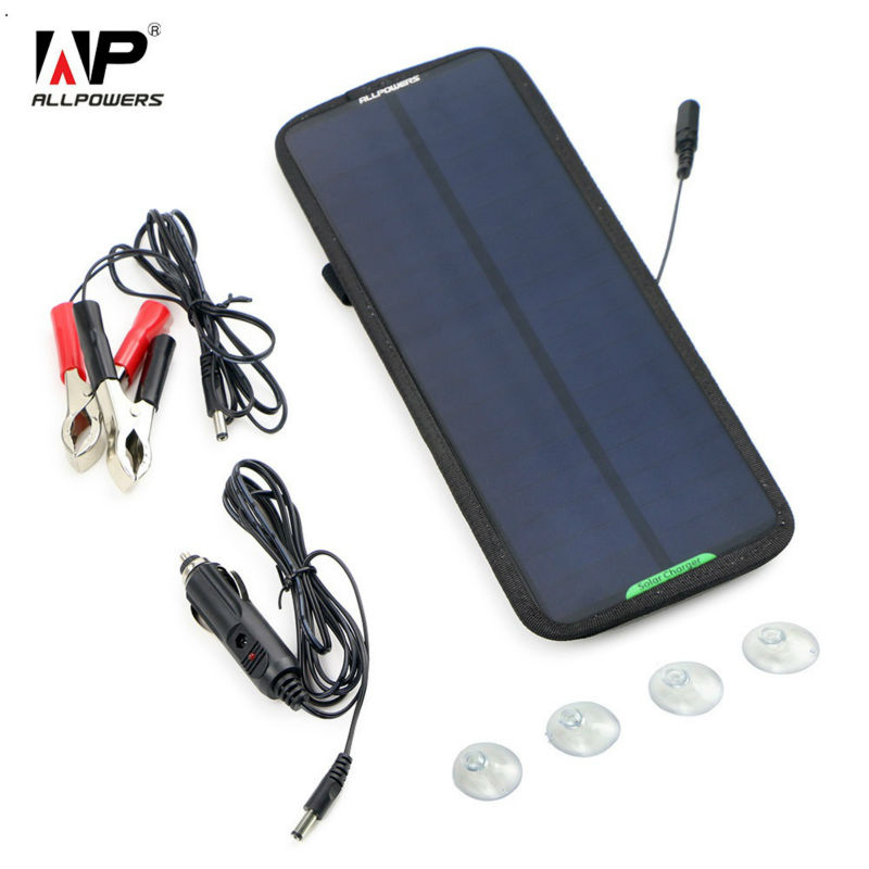 ALLPOWERS 12 V 18 V Mantenedor de Bateria Carregador Solar 7.5 W Painel Solar para Bateria de Automóvel Carro Motocicleta Barco Peixe localizador