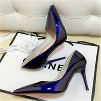 European and American nude patent leather fine with pointed high heels black work shoes women blue large size shoes red wedding
