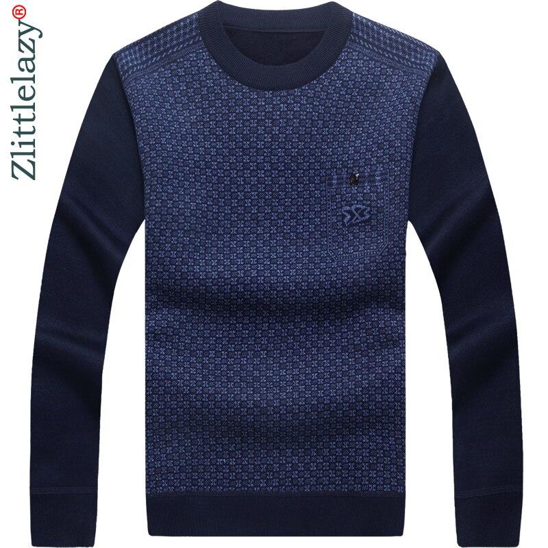 2019 New Designer Pullover Pocket Men Sweater Dress Thick Winter Warm Jersey Knitted Sweaters Mens Wear Slim Fit Knitwear 53010