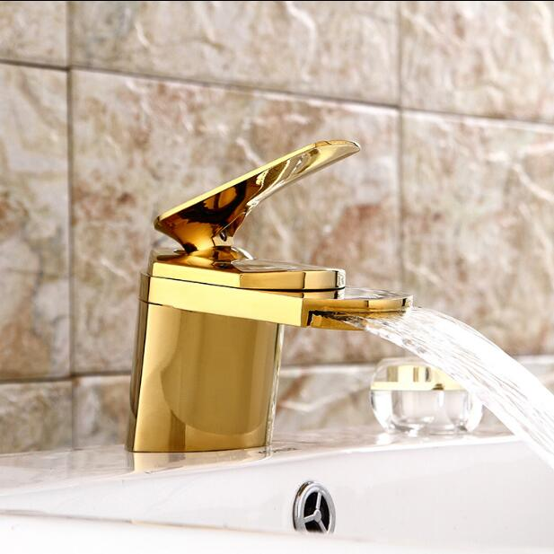 Free Shipping Bathroom Waterfall Faucet Basin Faucets Deck Mounted Gold Bathroom Sink faucet Luxury faucet Mixer basin tap free shipping becola luxury high quality gilded faucet deck mounted gold basin faucet bathroom brass tap b 1086m