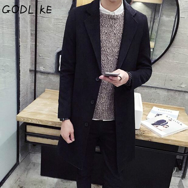 GODLIKE 2018 men's fashion Slim long long sleeves lapel coat/Mencasual pure cotton woolen jacket  Large size M-5XL