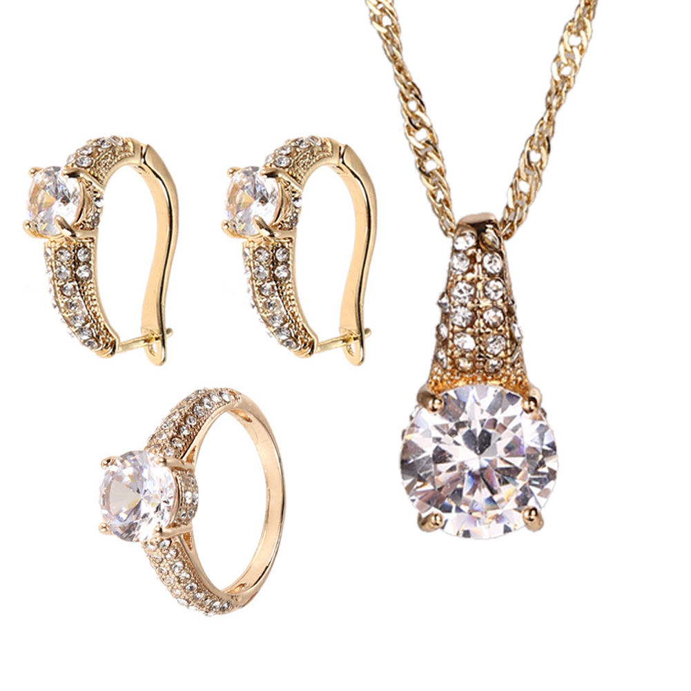 Elegant Ring Earrings Necklace Wedding Crystal Jewelry Set Noble Zircon Golden Wedding Jewelry Set luxury sweater Accessories