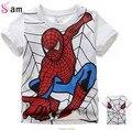 Venta al por menor 2014 del muchacho de la camiseta 100% algodón de manga corta t-shirt de impresión de los niños de dibujos animados gris niños niño niño de ropa