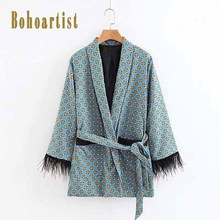 2019 New Korean Fashion Loose Casual Women Jacket Coat Autumn Boho Print Coats Tassel Lace Up Female Overcoat Office Ladies