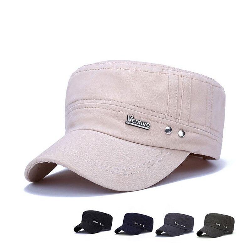 100% Baumwolle Unisex Männer Frauen Flache Top Kappe Armee Militär Hüte Klassische Dad Hut Einfarbig Sommer Visier Hut Snapback Einstellbar