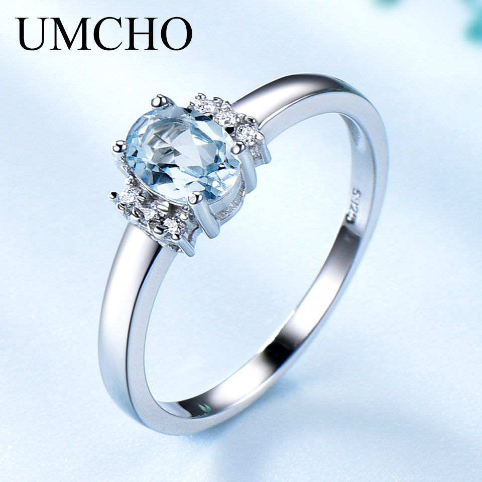 UMCHO Oval Created Nano Sky Blue Topaz Birthstone Rings 925 Sterling Silver Jewelry Gemstone Rings For Women Gifts Fine Jewelry