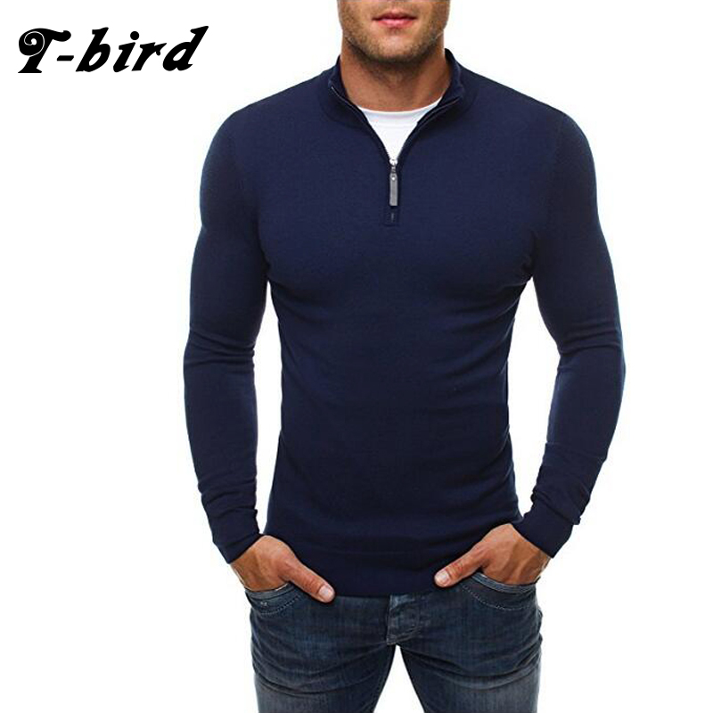 T-bird Brand 2017 New Fashion Autumn Casual Sweater Zipper Decoration Slim Fit Knitting Mens Sweaters Pullover 3 Colors 0