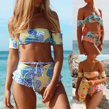 цена Print Swimwear Women Push Up Bikini Set 2018 Off Shoulder Swimsuit Strapless Bikini Sexy High Waist Women's Swimming Suit Biquin онлайн в 2017 году