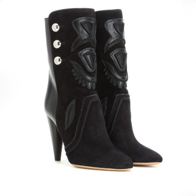 Newest Arrival High Quality Suede Leather Pointed Toe Spike High Heels Ankle Boots Good-looking Fashion Botas Mujer Short  Boots