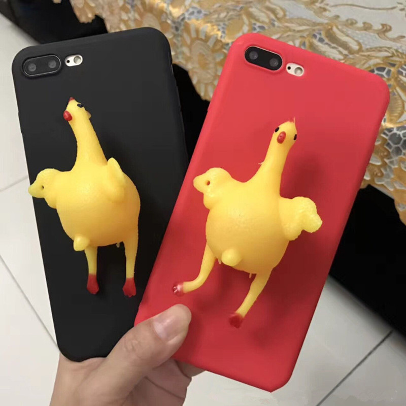 New 3D Antistress Creative Phone <font><b>Case</b></font> Squeeze <font><b>Chicken</b></font> Lay Egg Phone <font><b>Case</b></font> For iPhone7 7Plus for <font><b>iphone</b></font> <font><b>6</b></font> 6S for <font><b>iphone</b></font> 6P 6S Plus image