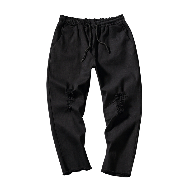 Black Wall Summer Holes Jeans Male Bound Feet Pants Will Code Leisure Time Nine Part Elastic Force Free shipping Favourite