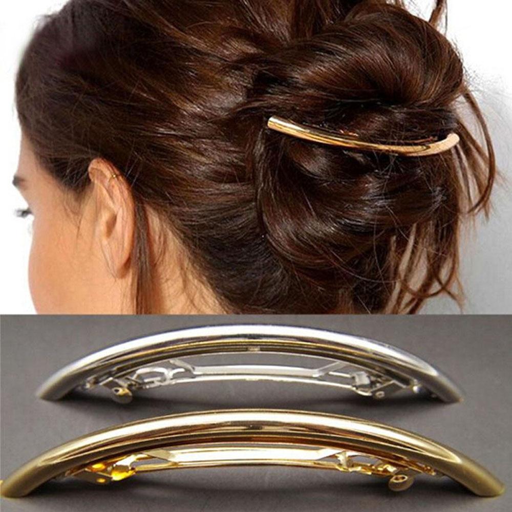 Women Hair Clips Girls Metal Gold Silver Plated Plain Arc