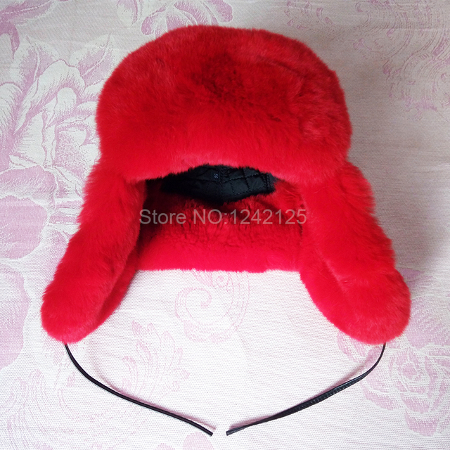 d7867908605ab Inverno das crianças das crianças da menina do menino adorável Rússia red  real rex coelho chapéu ...