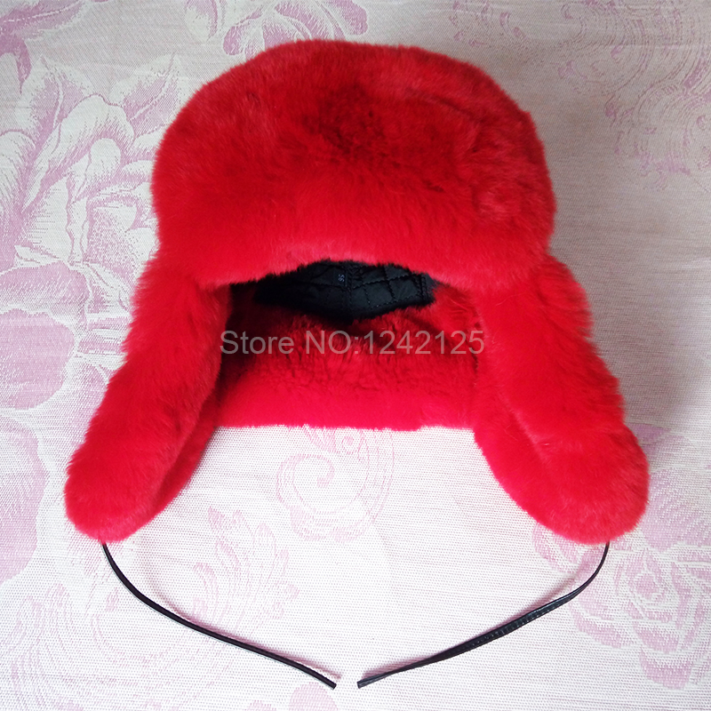 Winter children kids boy girl lovely Russia red real rex rabbit fur hat earmuffs genuine leather top earflaps ear fur hats cap mh rex rabbit fur winter hats female for women vintage flower top casual solid knitted caps skullies beanies w 20