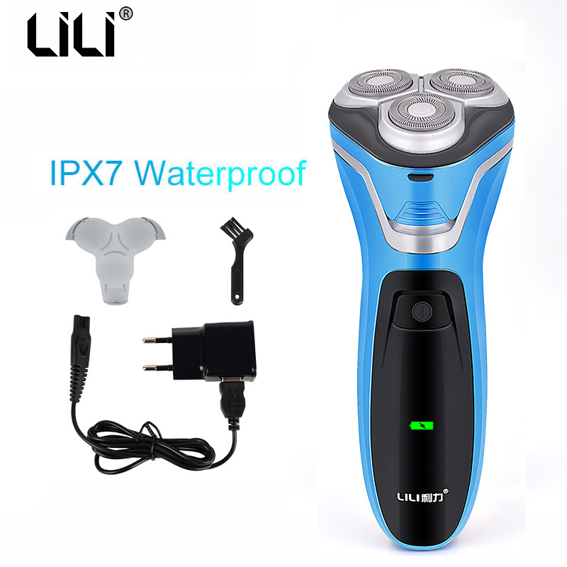 Professional Electric Hair Shaver Male Shaving Machine 3D Triple Floating Blade beard razor rechargeable beard hair cleaning jinding waterproof face care beard trimmer shaving machine golden triple blade shaver rechargeable 3d float electric shaver