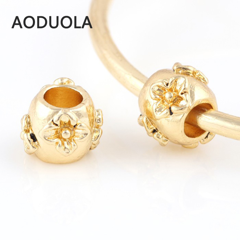 10 Pcs a Lot Gold-Color Alloy Beads Round Shape With Flower DIY Big Hole Metal Charm Beads Fit For Pandora Charms Bracelet