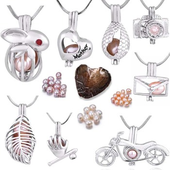 Glove cage pendant Silver Plated with Vacuum oyster pearl great Fashion mix Style Jewelry Valentine's day meaning present  PO148 1