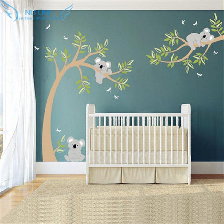 Koala And Branch Wall Sticker Koala Tree Wall Decal With Dragonflies Koala Bear Wall Decal for Baby Nursery, Kids, Children Room