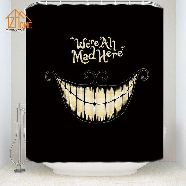 Memory Home Black Weird Smile Shower Curtain Halloween Waterproof ...