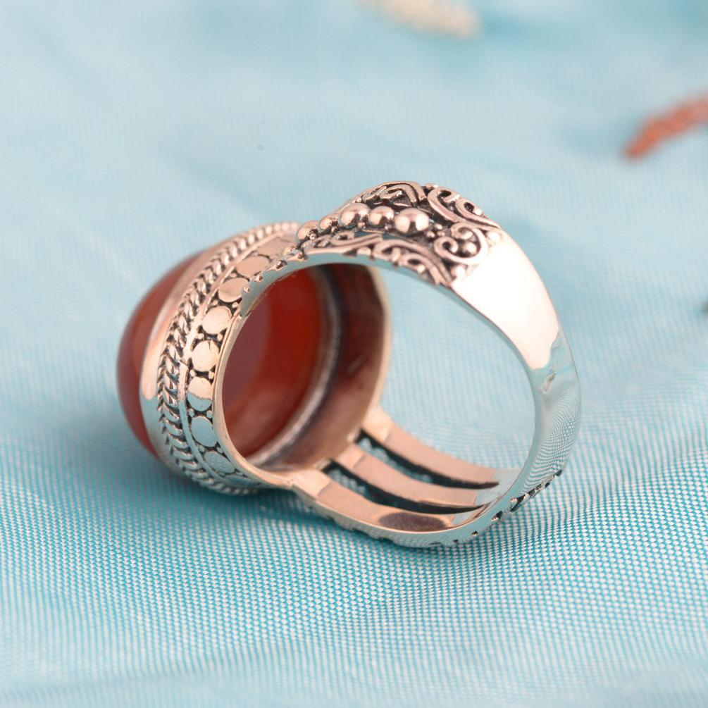 Image 5 - Red Agate Ring 925 Sterling Silver Vintage Thai Silver Oval 