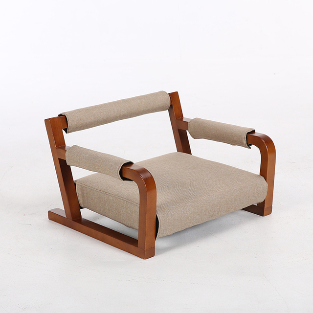 Us 129 0 Aliexpress Com Buy Wooden Armchair Floor Japanese Zaisu Chair Asia Japan Traditional Tatami Legless Living Room Wood Chair Seat Cushion