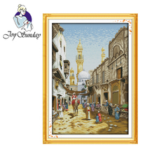 Joy Sunday,Exotic scenery,cross stitch embroidery set,printing cloth kit,needlework,Scenery pattern cross set