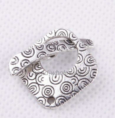 OMH wholesale 23sets Retro silver Square Tibetan silver Decorative Pattern Clasp Findings DZ262