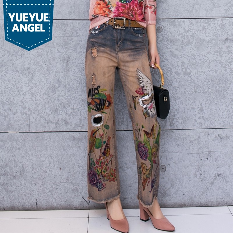 Autumn Winter Stretch Slim Printed Wide Leg Jeans Women Vogue Elegant Style Office Tassel Long Denim Pants Female Streetwear