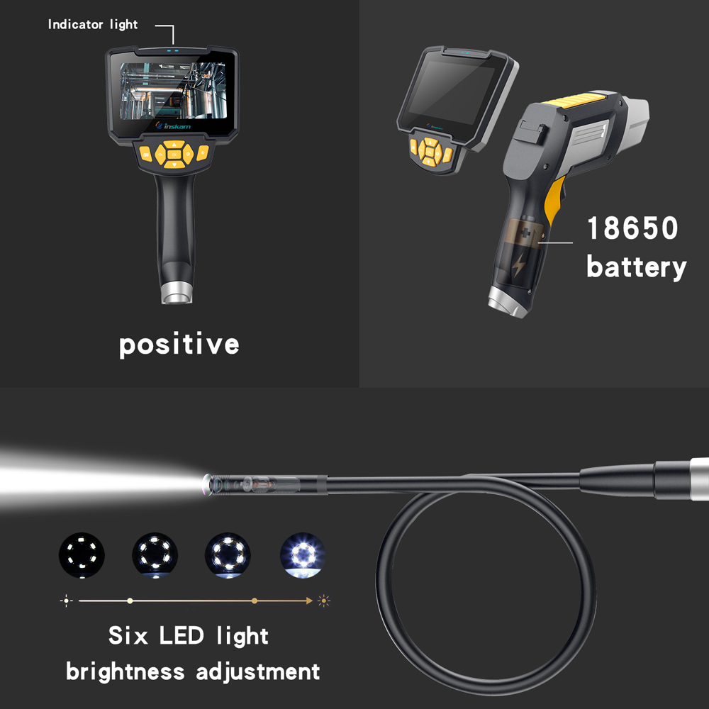 Image 3 - Digital Industrial Endoscope 4.3 inch LCD Borescope Videoscope with CMOS Sensor Semi Rigid Inspection Camera Handheld Endoscope-in Surveillance Cameras from Security & Protection