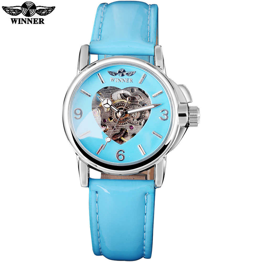 2016 WINNER brand fashion casual watches women lady heart skeleton automatic mechanical wrist watches sky blue leather belt band 2016 winner watches women lady luxury brand skeleton automatic mechanical wristwatches artificial leather band relogio feminino
