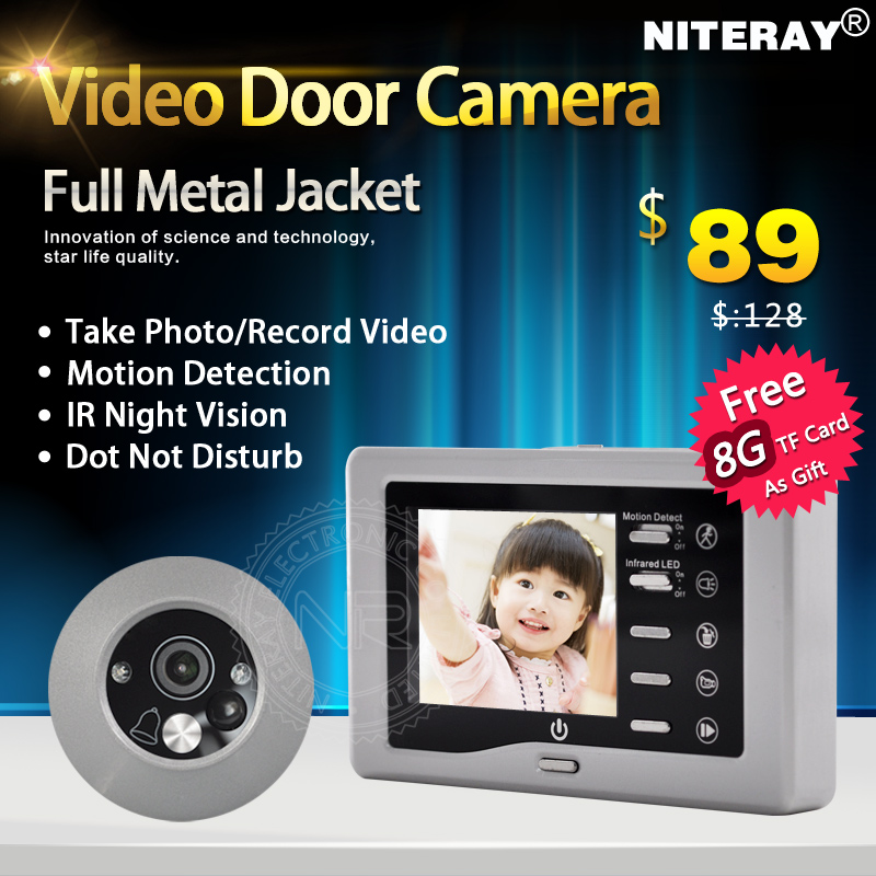 ФОТО Clear Night Vision 3.0 inch Mini Door Peephole Camera with Motion Sensor + Record Video + Take Photo Automatically