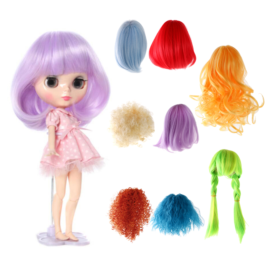 New Arrivals Sweet Full Doll Wig Hairpiece Curly Hair 27-28cm for 1/6 Blythe Dolls Colorful Dolls Wigs Brick Dolls Accessories beioufeng 22 24cm 1 3 bjd wig long curly wigs accessories for dolls synthetic doll hair deep coffee color doll wig for dolls