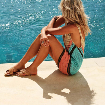 2018 New Beach Cover-Up Bikini Crochet Knit Swimwear Summer Beach Clothing Hollow Swimsuit Cover Up Beach Wear Clothes 2