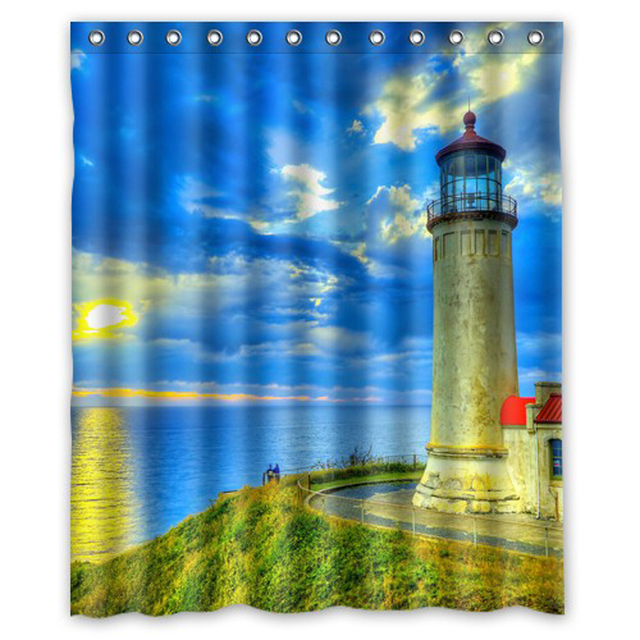 Lighthouse Sunset Seashore Custom Design Fabric Curtain Bathroom Products  Waterproof Shower Curtains 48x72, 60x72,