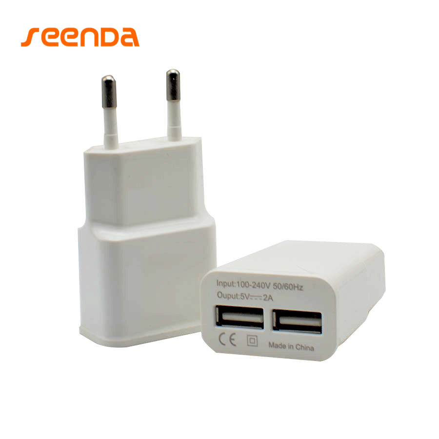 Seenda 2 Port USB Phone Charger Universal EU/US Plug 2A Smart Fast Charging Mobile Wall Charger for iPhone Samsung Xiaomi