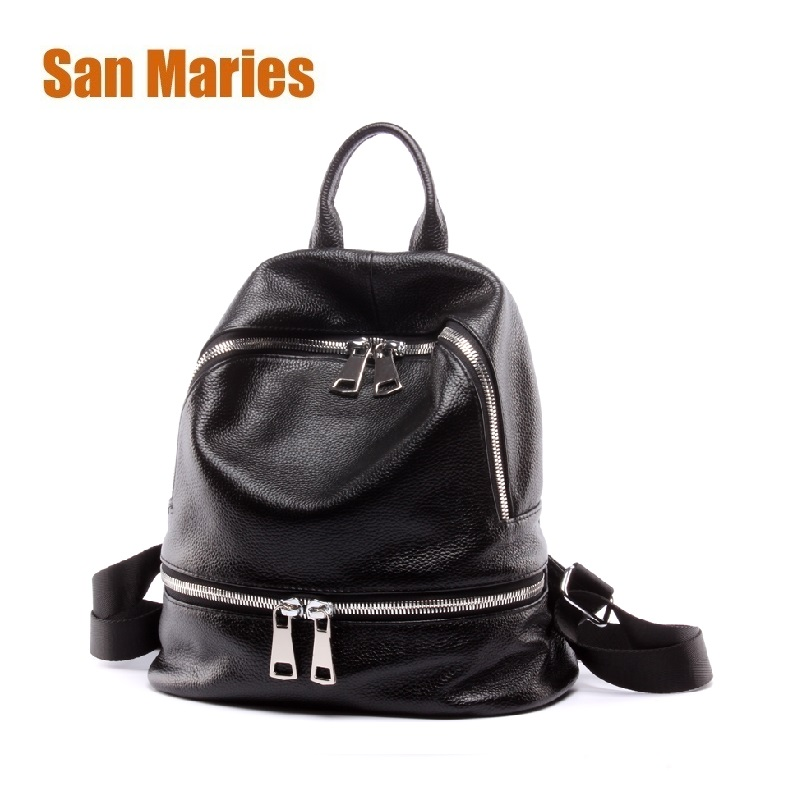 San Maries Backpack Female Genuine Leather Women Backpacks School Bags Multifunctional Leather Back Pack on Shoulder Ladies Bags