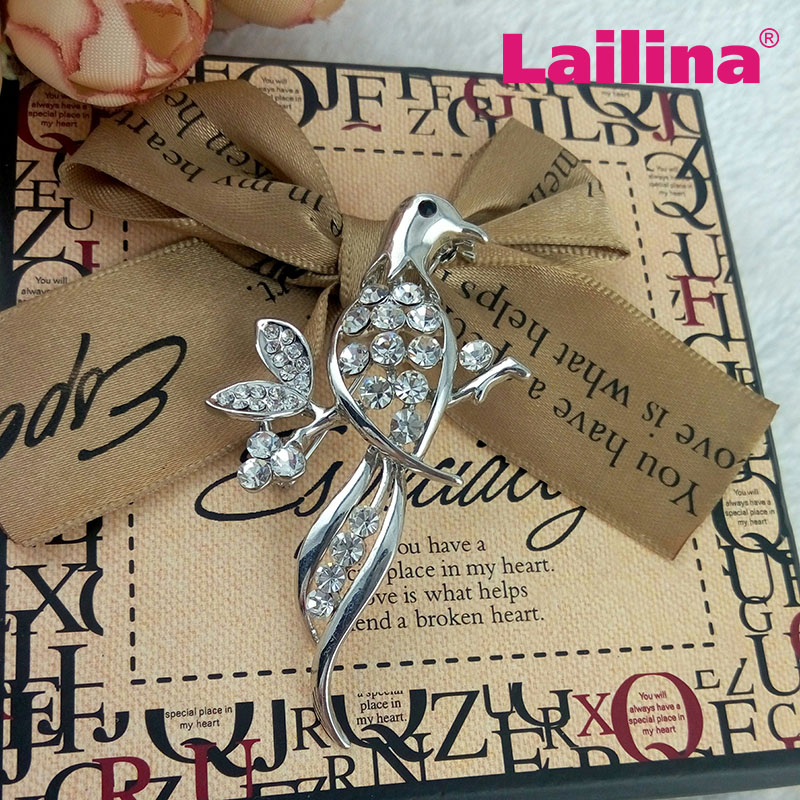 Crystal clear silver tone animal shape bird rhinestone brooches pins jewelry for dress and suit