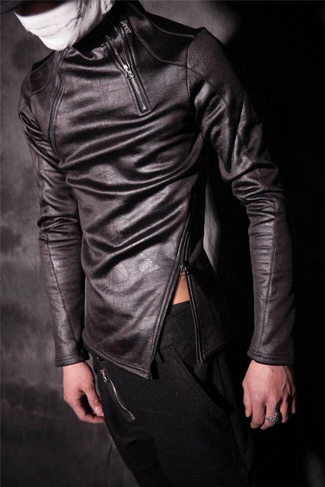 Vêtements Col Longues Noir Masculins Montant En Chemise 2016 T Hommes Base Shirt Cuir Masculine De Chanteur Personnalité Costumes À Manches Slim Punk t0wnqx15Wx