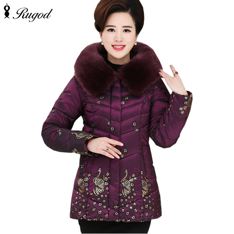 High quality 2017 Women s Winter Coat Print Jackets Fur Collar Warm Down Cotton Jacket Female