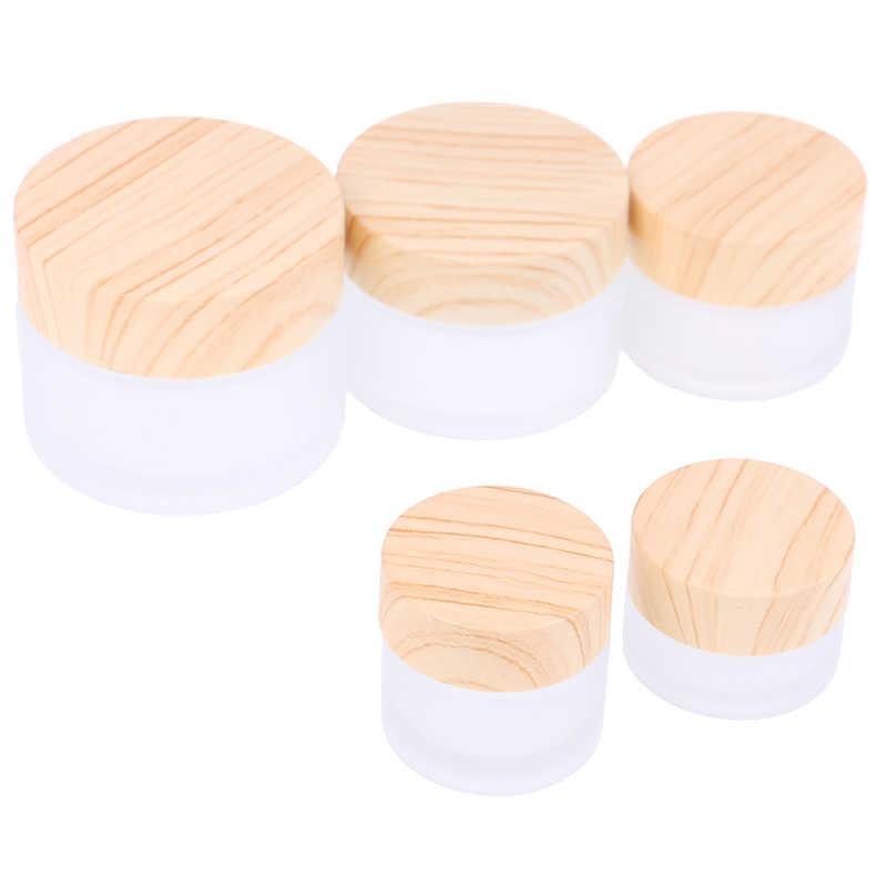 1 adet 5g 10g 15g 30g 50g buzlu cam kavanoz cilt bakımı göz krem kavanozu Pot doldurulabilir şişe kozmetik konteyner ahşap tahıl kapak