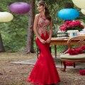 Elegante O Pescoço Vestido Sexy Red Mermaid Lace Prom Vestidos Longos Vestidos de Baile 2017 Longa Longue Robe de Soirée