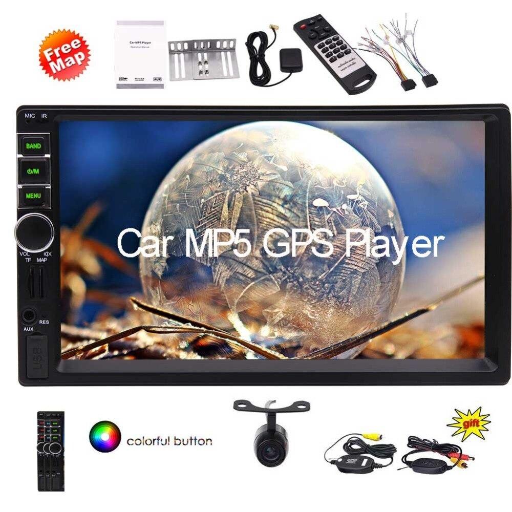 2 Din Autoradio lecteur vidéo Autoradio Bluetooth HD écran tactile capacitif avec télécommande lecteur GPScudio lumière de clé colorée
