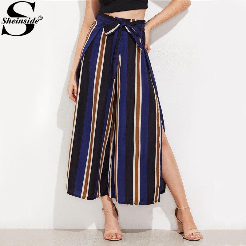 Sheinside Navy Split Side Cropped   Wide     Leg     Pants   Autumn Elegant High Waist Women Striped   Pants   Zipper Fly Bow Tie Loose   Pants