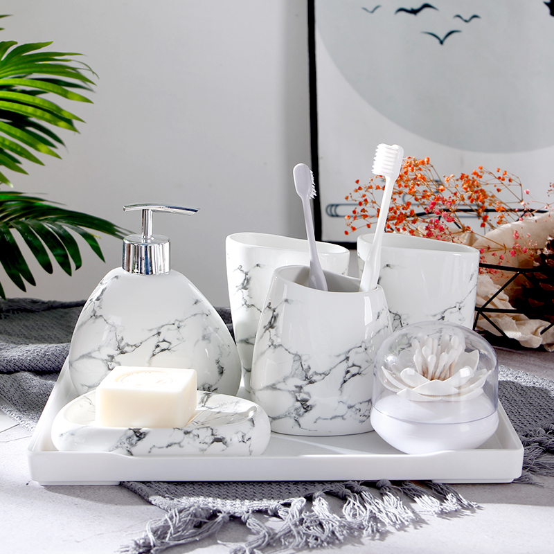 Image 2 - 6pcs/set Imitation marble ceramics Bathroom Accessories Set Soap Dispenser/Toothbrush Holder/Tumbler/Soap Dish Bathroom Products-in Bathroom Accessories Sets from Home & Garden